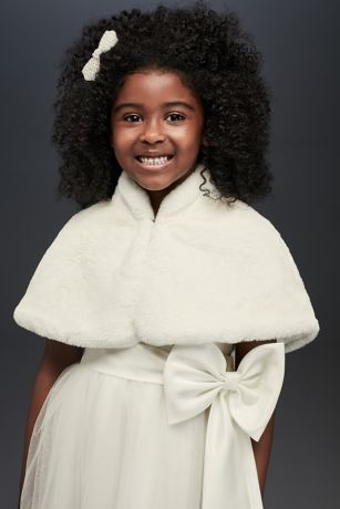 Faux-Fur Draped Capelet with Collar