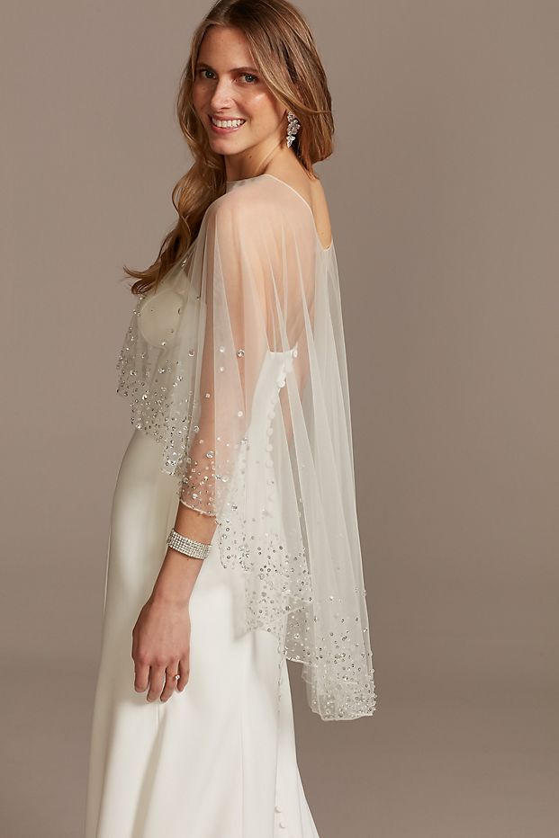 Scattered Crystal High Low Tulle Capelet