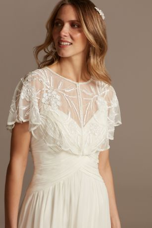 Floral Beaded Mesh Capelet with Scalloped Edge