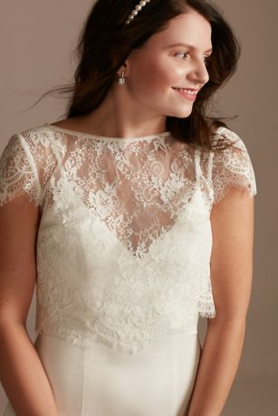 Cap Sleeve Eyelash-Trimmed Lace Topper with Tie