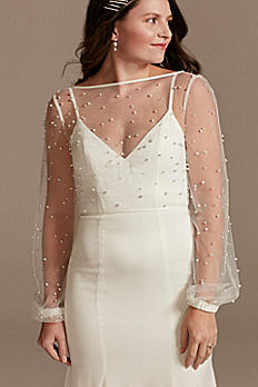 Long Sleeve Tulle Topper with Pearls OW2158