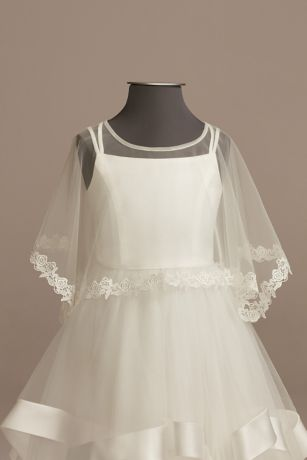Tulle Flower Girl Capelet with Lace Trim