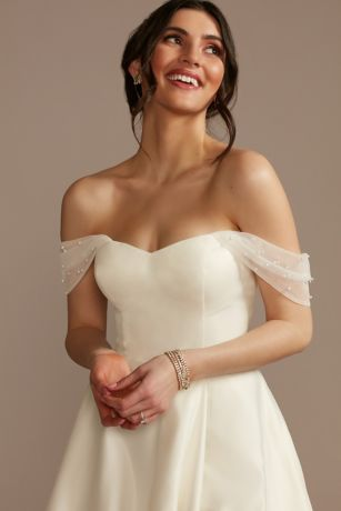 Faux Pearl Tulle Detachable Swag Sleeves