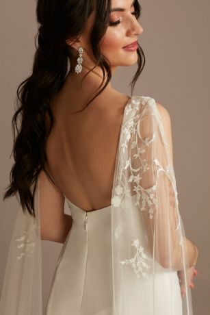 Beaded Lace Applique Tulle Streamer Sleeves