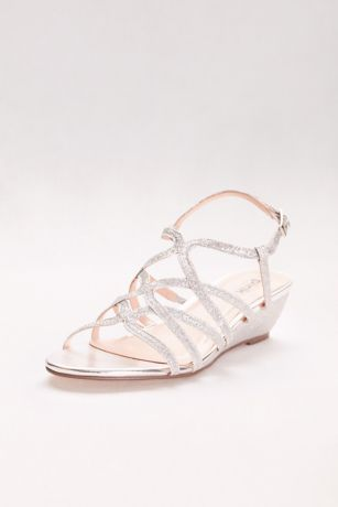 Pink Paradox Blue;Grey;Ivory;Yellow (Opulent Crisscross Strappy Low Wedge Sandals)