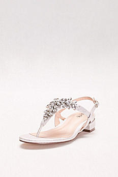 Flame Glitter Thong Sandals with Low Block Heel P1709