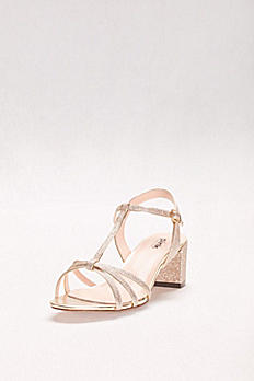 Sadie Glitter Block Heel T-Strap Sandals P1713