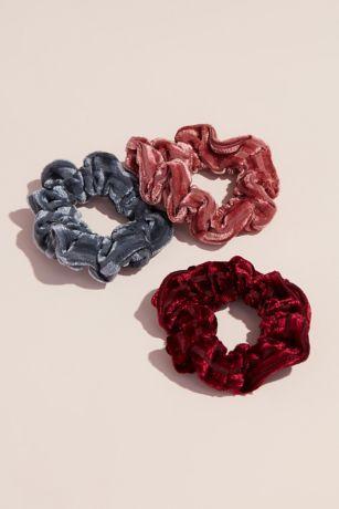 Silk-Blend Crushed Velvet Scrunchies Set