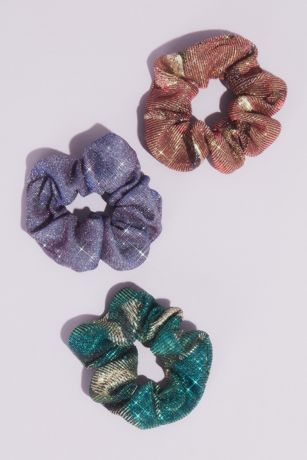 Metallic Iridescent Glitter Scrunchies Three-Pack
