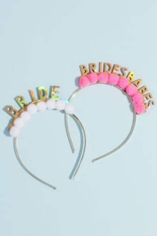 Metallic Brides Babes Pom-Pom Headband