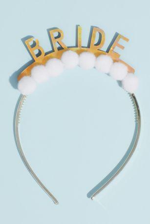 Holographic Bride Pom-Pom Headband