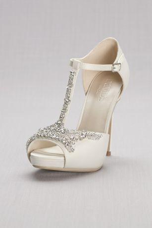 f1db5eed374 David s Bridal Ivory Heeled Sandals (Crystal T-Strap Satin Peep Toe  Platform Heels)