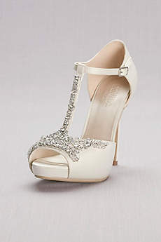 David's Bridal Ivory Pumps (Crystal T-Strap Satin Peep Toe Platform Heels)