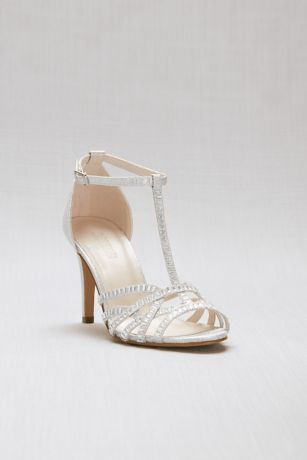 David's Bridal Grey Heeled Sandals (Crisscross Glitter T-Strap Heels with Crystals)