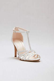 David's Bridal Grey Sandals (Crisscross Glitter T-Strap Heels with Crystals)