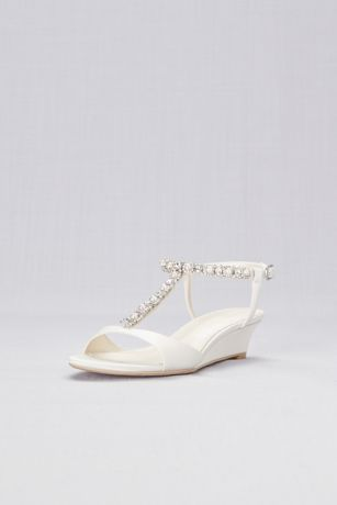 David's Bridal Ivory Heeled Sandals (Low Wedge Crystal and Pearl T-Strap Sandals)