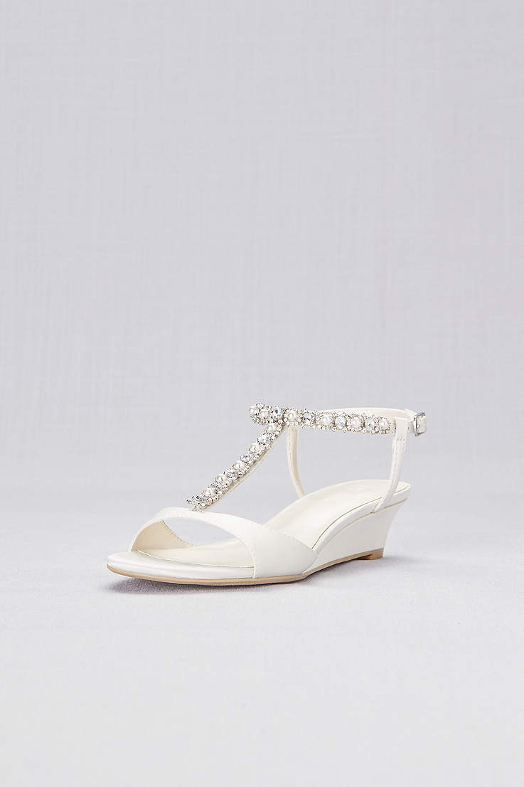 85c7266231afa David's Bridal Ivory Heeled Sandals (Low Wedge Crystal and Pearl T-Strap  Sandals)