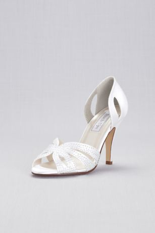 Touch Ups White Peep Toe Shoes (Dyeable Jeweled dOrsay Pump by Touch Ups)