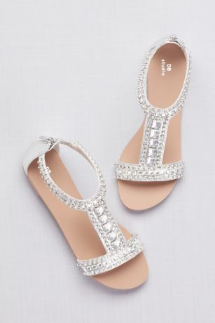 537b6dc09 David s Bridal Grey Pink Flat Sandals (Crystal and Jewel Embellished Flat  Sandals)