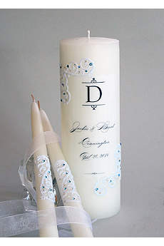 Personalized Piazza Lace Unity Candle Set