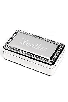 Personalized Beaded Silver Jewelry Box 1519