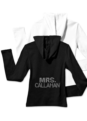 Personalized Multi-Row Rhinestone Mrs. Hoodie