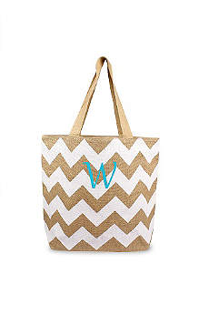 DB Exclusive Personalized Chevron Jute Tote Bag