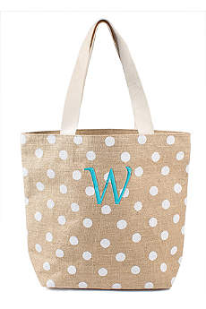 DB Exclusive Personalized Polka Dot Jute Tote Bag