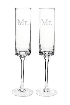 Mr. and Mr. Contemporary Champagne Flutes