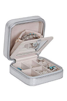 Luna Travel Jewelry Case in Metallic Faux Leather
