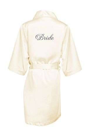 Embroidered Bride Satin Robe