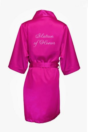 Embroidered Matron of Honor Satin Robe