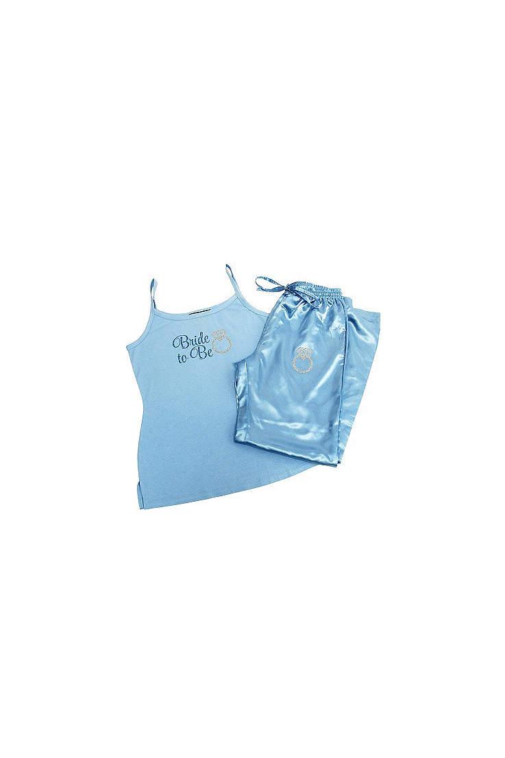 glitter print blue bride to be pajama set