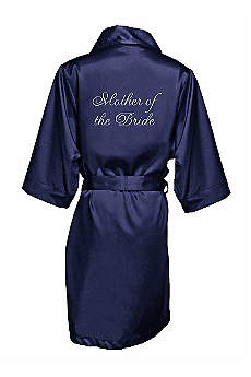 Embroidered Mother of the Bride Satin Robe