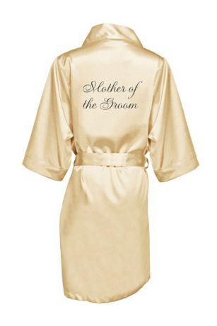 Embroidered Mother of the Groom Satin Robe
