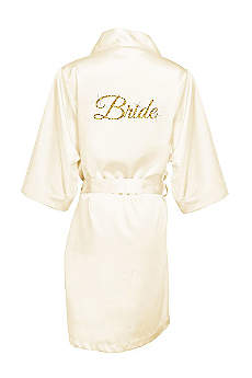 Glitter Print Bride Satin Robe