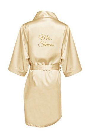 Personalized Glitter Print Mrs. Satin Robe