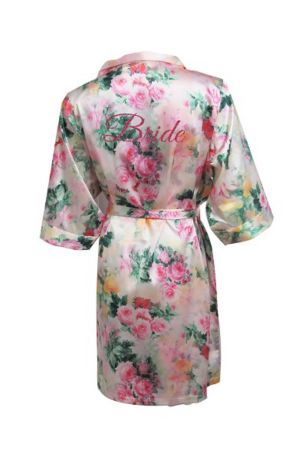 DB Exc Pastel Floral Robe with Pink Glitter Bride