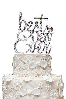 Rhinestone Best Day Ever Cake Topper