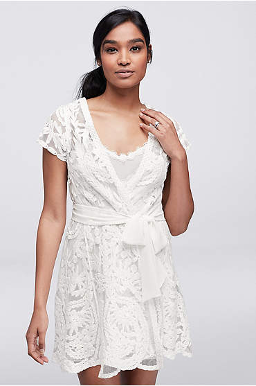 Short off white sheer robe with applique lace