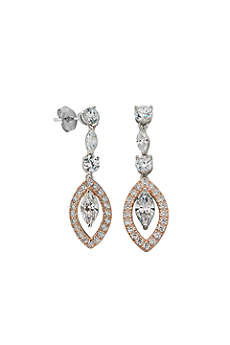 Two-Tone Cubic Zirconia Drop Earrings