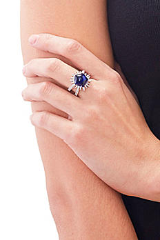 Faux Sapphire Cubic Zirconia Sterling Silver Ring R35635