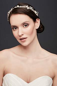 Crystal-Encrusted Flower Garland Headband