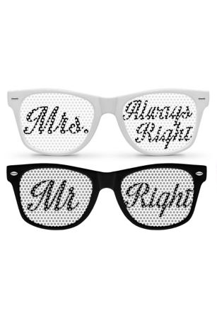 Mr Right and Mrs Always Right Party Sunglasses