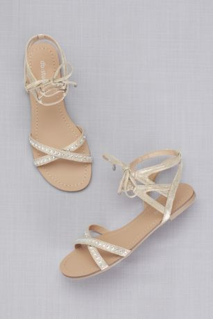 David's Bridal Ivory Flat Sandals (Ankle-Tie Jeweled Crisscross Sandals)