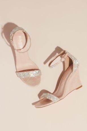 Blossom Pink Wedges (Pave Crystal Embellished Metallic Wedges)