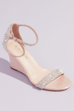Blossom Pink Wedges (Pave Crystal Embellished Metallic Wedges)