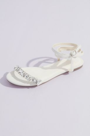 David's Bridal Pink;White Flat Sandals (Shimmery Wrap-Around Flat Sandals with Crystals)