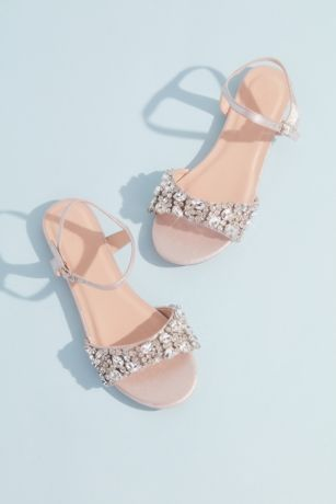 David's Bridal Pink Flat Sandals (Shimmery Quarter-Strap Crystal Toe Sandals)