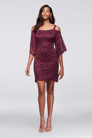 Cold-Shoulder Lace Sheath Dress